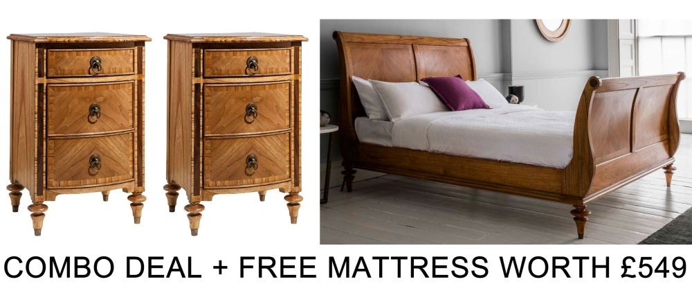 Frank Hudson Spire 5ft High Foot End Sleigh Bed Combo with Free Mattress