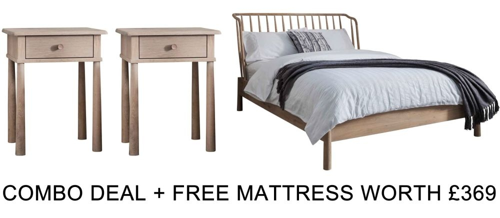 Frank Hudson Wycombe Solid Oak 5ft Low Foot End Bed Combo with Free Mattress