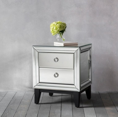 Hudson Living Aster Accent Mirrored Side Table - 2 Drawer