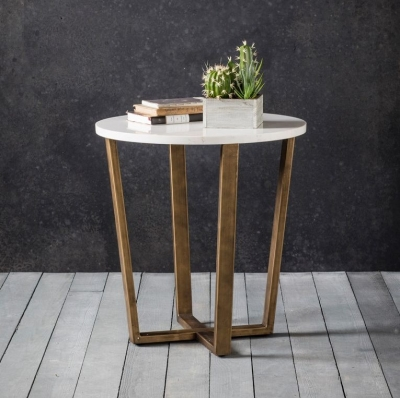 Hudson Living Cleo Marble Side Table - Round