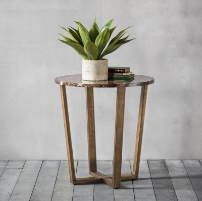 Hudson Living Emperor Marble Side Table - Round