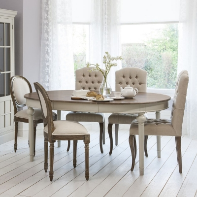 Hudson Living Maison Cool Grey Dining Set - Round Extending with 4 Button and 2 Balloon Back Chairs