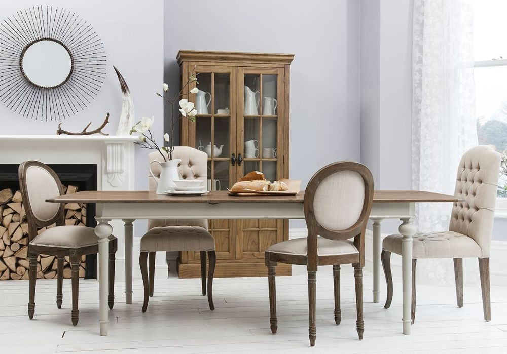 Hudson Living Maison Cool Grey Dining Set - Rectangle Extending with 2 Button and 2 Balloon Back Chairs