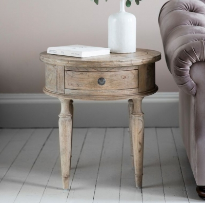 Hudson Living Mustique Side Table - Round 1 Drawer