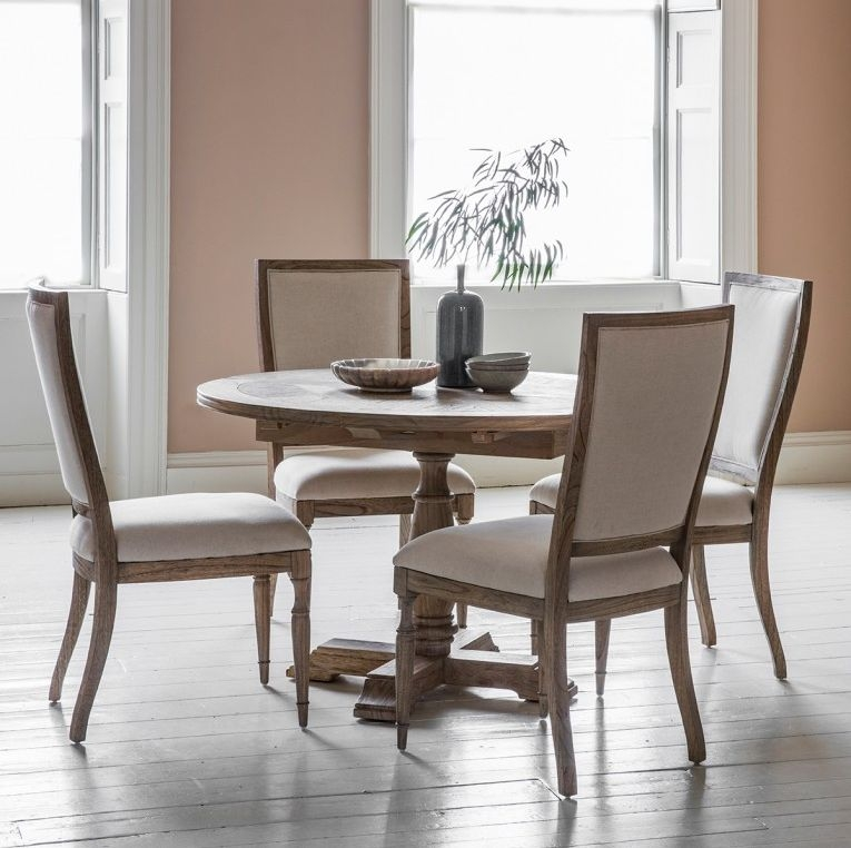 Hudson Living Mustique Dining Set - Round Extending with 4 Chairs