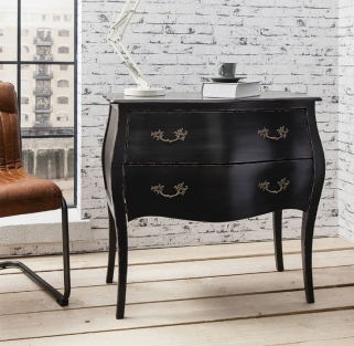 Hudson Living Tremoy Black Bombe Chest of Drawer