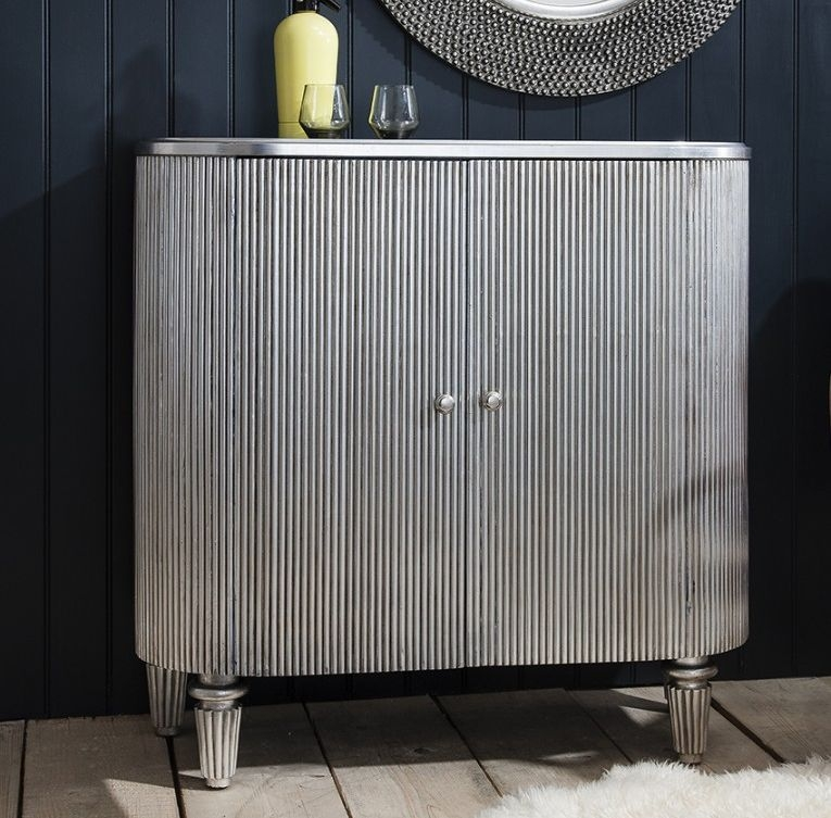 Hudson Living Jeeves Silver Drinks Cabinet