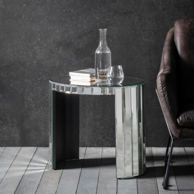 Hudson Living Travis Mirrored Side Table