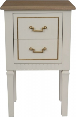 Agen French Oak and Old White Painted Side Table