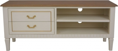 Agen French Oak and Old White Painted TV Unit