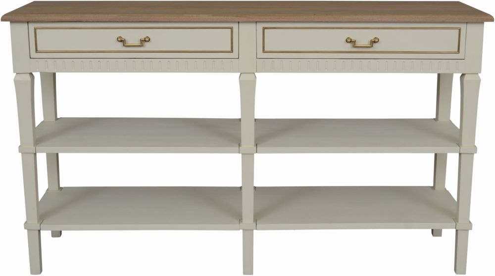 Agen French Oak and Old White Painted 2 Drawer Console Table