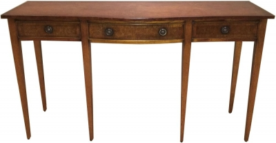 Amour French Dark Burl Serpentine Console Table