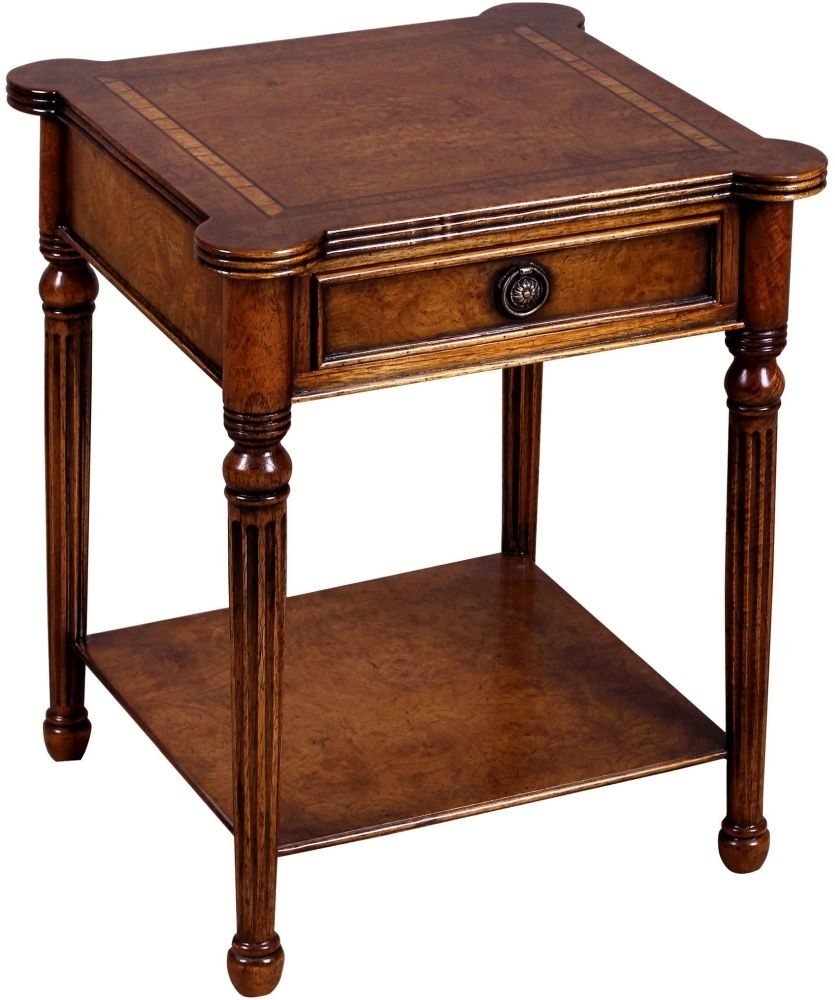 Amour French Dark Burl Square Lamp Table