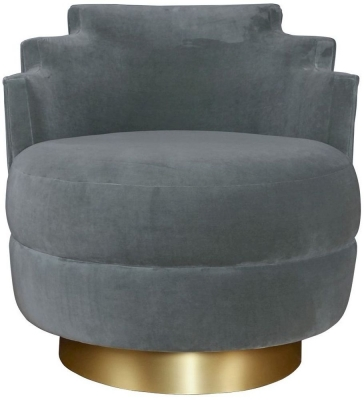 Bergerac Swivel Green Velvet Armchair