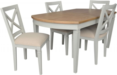 Bonaparte French Oak and Putty Painted 160cm-210cm Extending Dining Table and Chairs