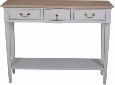 Bonaparte French Oak and Putty Painted 3 Drawer Console Table