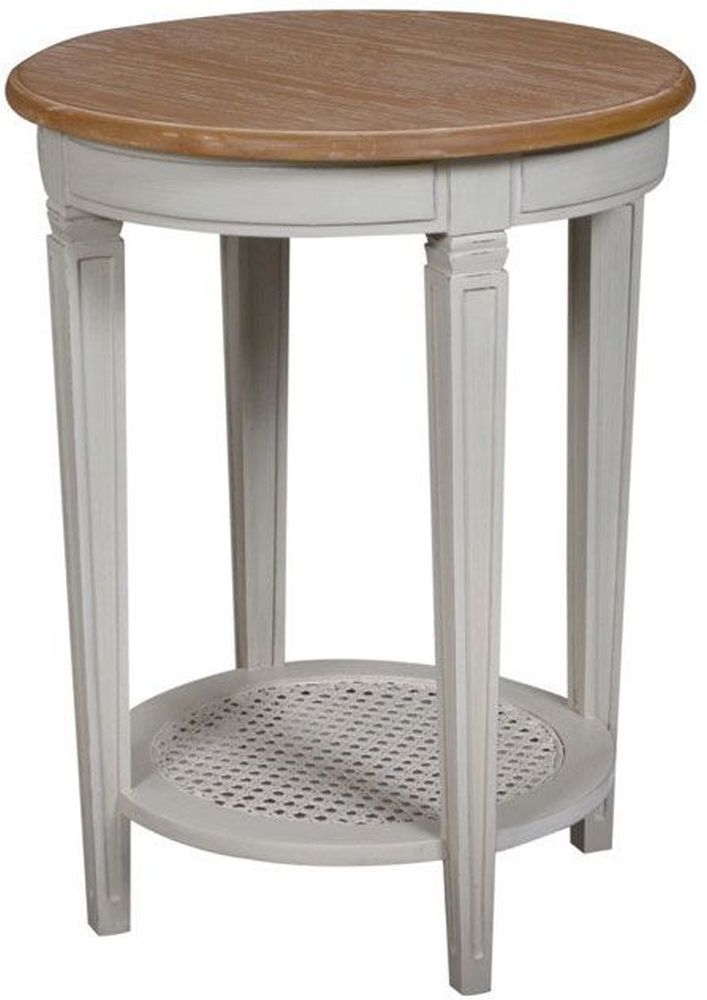 Bonaparte French Oak and Putty Painted Round Side Table