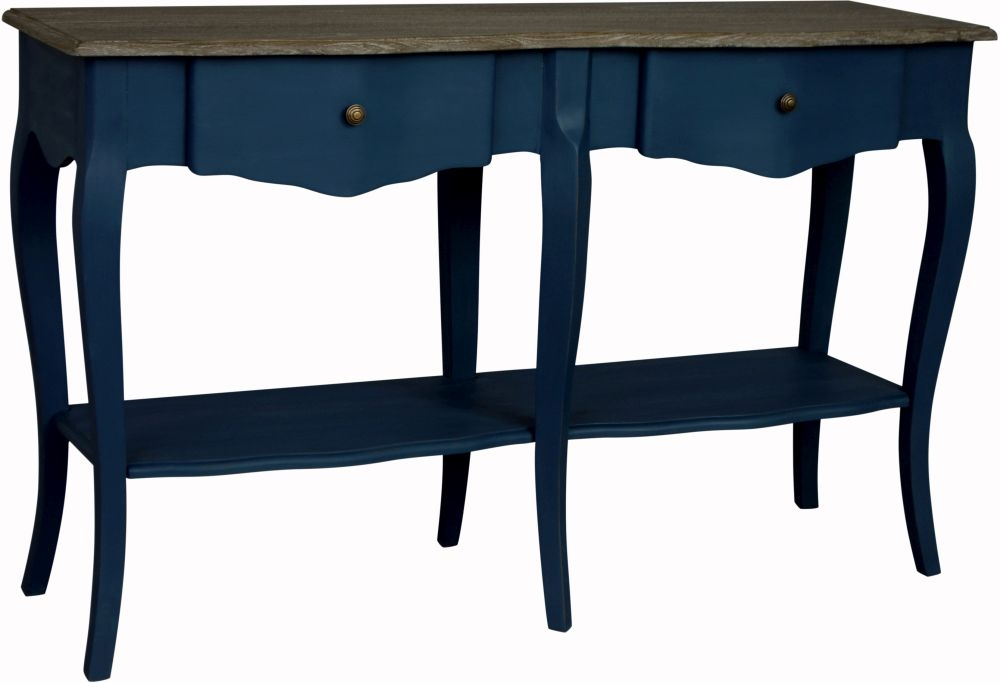 Boudoir French Stiff Key Blue Painted 2 Drawer Console Table