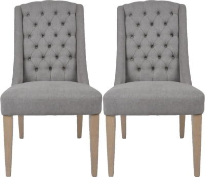Dax Slate Grey Linen Fabric Dining Chair (Pair)