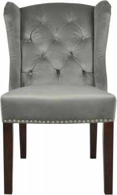 Moulins Silver Velvet Dining Chair