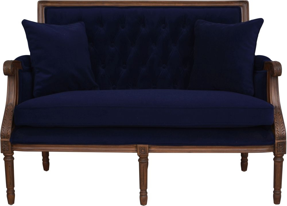 Navy Velvet Occasional 2 Seater Sofa