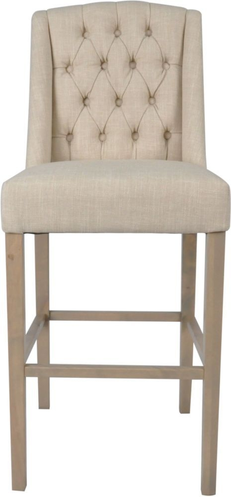 Dax Beige Linen Fabric Bar Stool