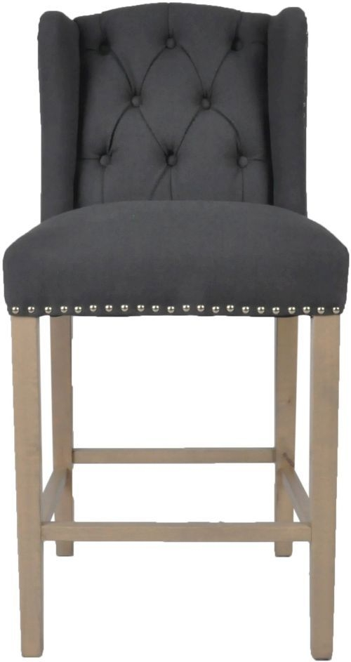 Moulins Dark Grey Linen Fabric Bar Stool