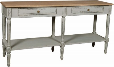 Charlotte French Distressed Stone Grey 2 Drawer Console Table