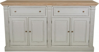 Charlotte French Distressed Stone Grey 4 Door Sideboard