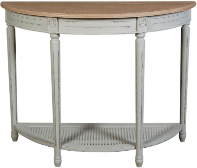 Charlotte French Distressed Stone Grey Half Moon Console
