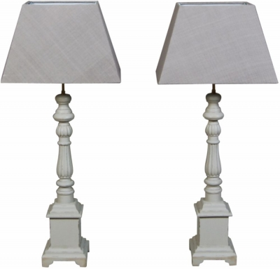 Charlotte French Distressed Stone Grey Lamp (Pair)