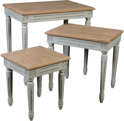 Charlotte French Distressed Stone Grey Nest of Tables