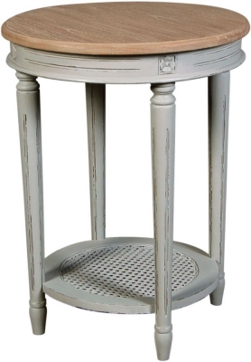 Charlotte French Distressed Stone Grey Round Side Table