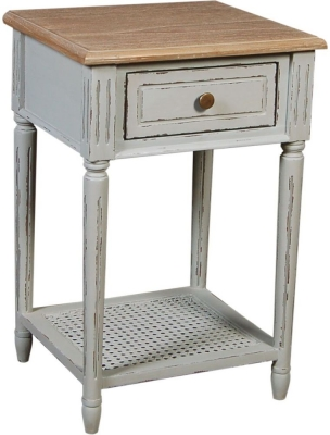 Charlotte French Distressed Stone Grey Side Table