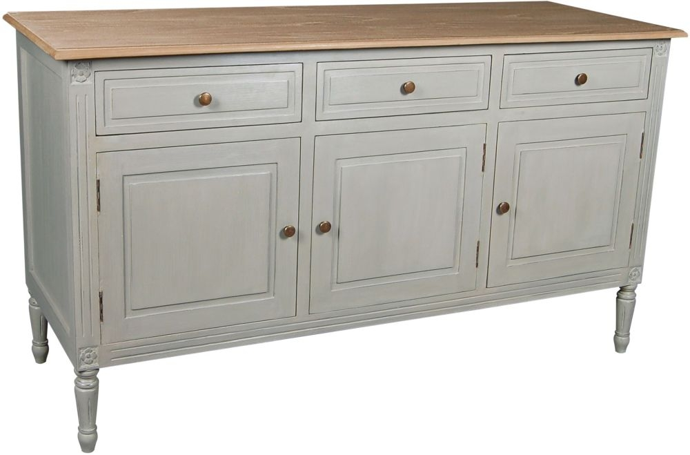 Charlotte French Distressed Stone Grey 3 Door Sideboard