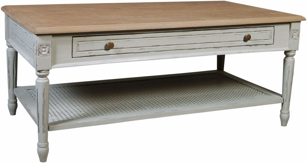 Charlotte French Distressed Stone Grey Coffee Table