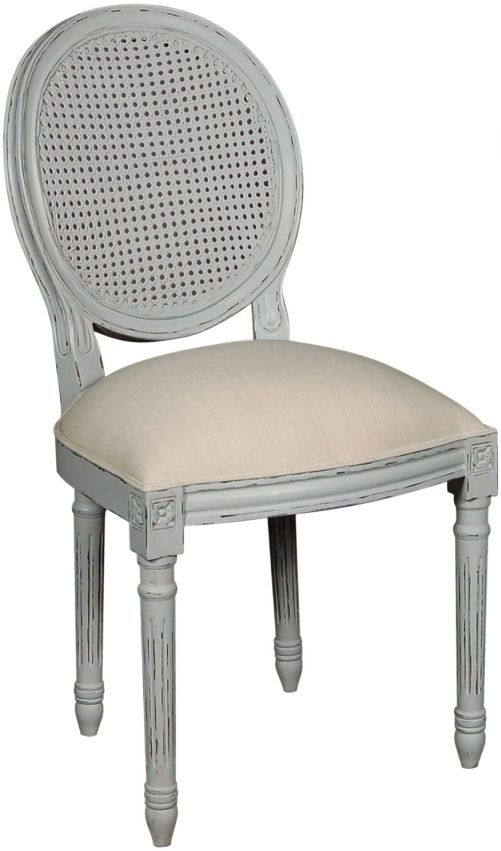 Charlotte French Distressed Stone Grey Lattice Back Dining Chair (Set of 4)