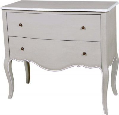 Chateau French Distressed Linen and Off-White 2 Drawer Chest