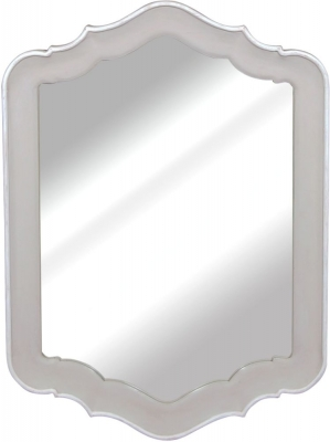 Chateau French Distressed Linen and Off-White Mirror - 65cm x 90cm