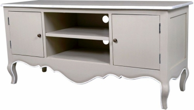 Chateau French Distressed Linen and Off-White TV Unit