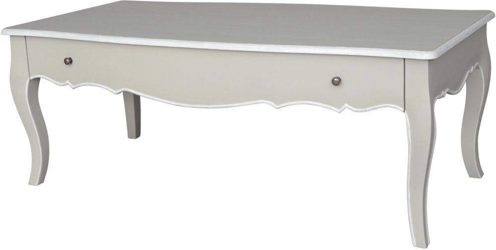 Chateau French Distressed Linen and Off-White Coffee Table