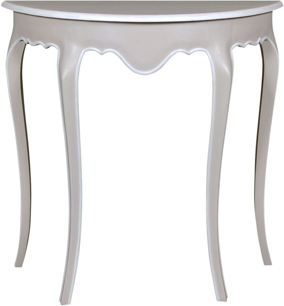 Chateau French Distressed Linen and Off-White Half Moon Console Table