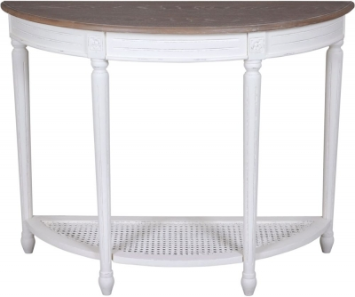 Delphine French Off-White Painted Half Moon Console Table