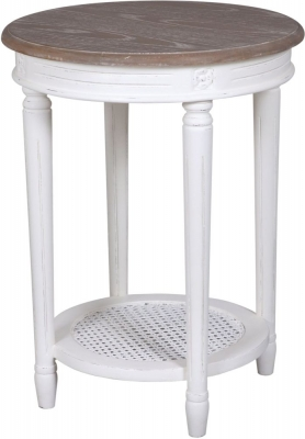 Delphine French Off-White Painted Round Side Table