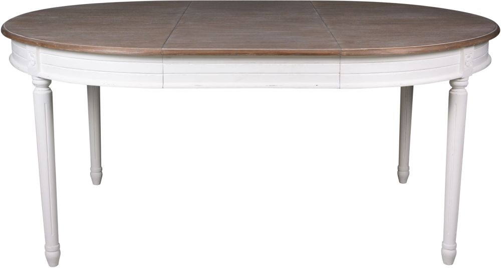 Delphine French Off-White Painted 120cm-170cm Round Extending Dining Table