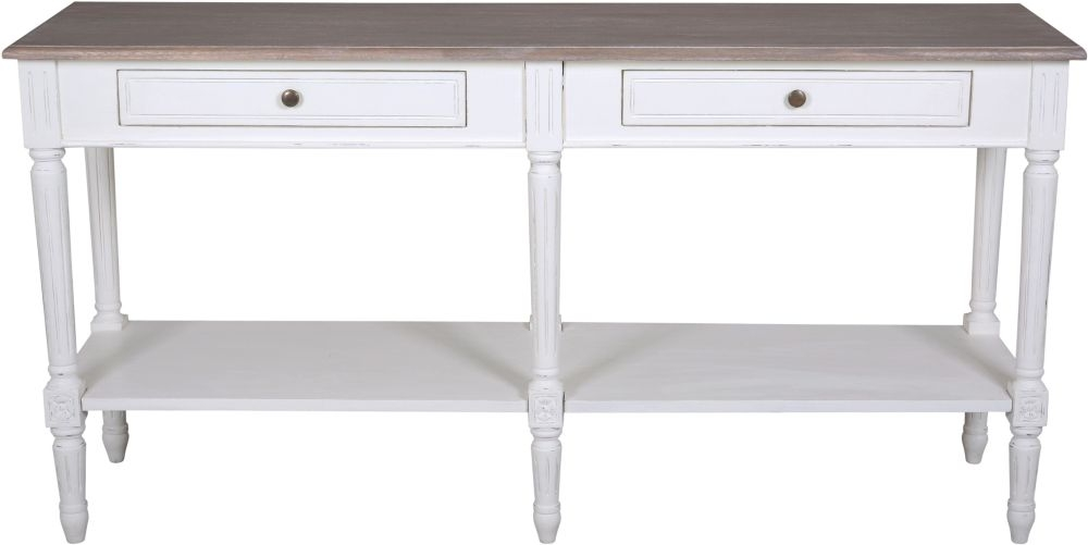 Delphine French Off-White Painted 2 Drawer Console Table