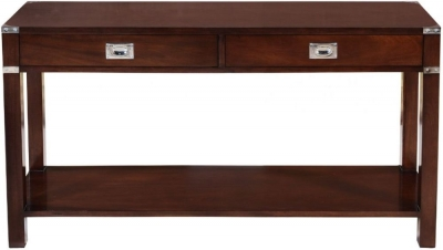 Normandy French Walnut Stain 2 Drawer Console Table