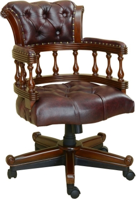 Palais French Burgandy Leather Captains Chair