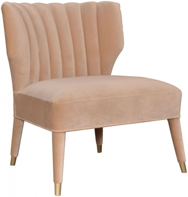 Provencal French Beige Velvet Accent Chair