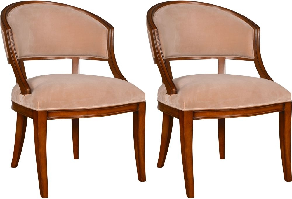 Provencal French Cherry and Beige Velvet Dining Chair (Pair)